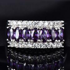 Purple Amethyst CZ Eternity Rings Wedding Womens Jewelry 10KT White Gold Filled