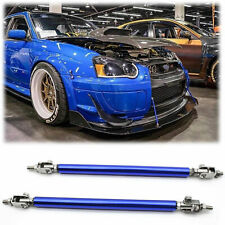 2xAdjustable Blue Front Bumper Lip Splitter Strut Rod Tie Support Bars Universal