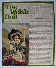 """Vintage 1970s pattern traditional Welsh Wales costume for 7"""" doll by Gwen Crick"""
