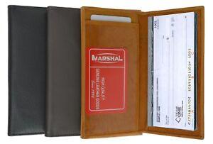 Genuine Leather Plain Checkbook Cover Long Wallet Card Holder Men Lady