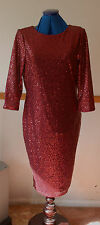 NEW Sz M Oasis Mulberry Dark Red Sequin Lined Dress Chiffon Back