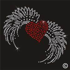 Red Heart with Wings Rhinestone Diamante Transfer Iron On Hotfix Motif Gem Patch