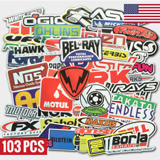 103Pcs Auto Car Parts Nhra Drag Racing Vinyl Graphics Stickers Bomb Decals Pack