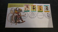 AUSTRALIAN STAMP ISSUE FDC, 1994 COCOS ISLAND PUPPETS SET OF 4 STAMPS, 4 PMS