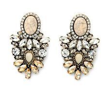 E972 Betsey Johnson Royal Amber Crystal Gemstone Bridal Moon Stone S Earrings US