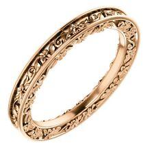 SOLID 14K ROSE GOLD 2.65 MM DESIGN ENGRAVED WEDDING BAND RING SIZE 4 - 8