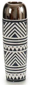 29cm Tall Ceramic Black White & Silver Flower Vase Bottle Vase