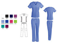 Stylish Womens Nursing Medical Scrub Set w/ Stretch Panels and Cargo Pants