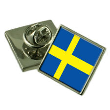 Sweden Flag Lapel Pin Badge Solid Silver 925