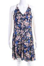 Rebecca Taylor Womens Silk Chiffon Floral A-Line Knee Length Dress Blue Size 4