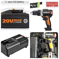 worx 18v brushless combi drill complete kit powerfull 4.0ah battery fast charger
