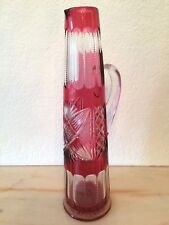 VAL ST LAMBERT - Rare canette à champagne - taille riche 1908 - doublée rouge