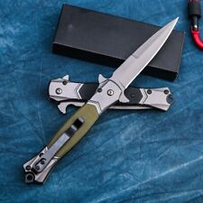 Folding Knife Quick Open Blade Stiletto EDC Pocket Knives Tactical Combat Tool