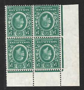 Somaliland 1913. SG60w. 1/2d green. Inverted w/m. Corner marginal block x 4. MNH