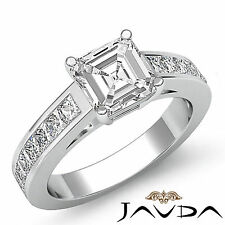 Asscher Diamond Channel Set Fine Engagement Ring GIA F VS2 14k White Gold 1.5 ct