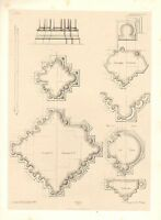 1857 Grande Architettura Stampa ~ Soissons Cathedral Medievale, Gotico Art