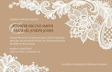 Wedding Invitations White Lace Any Colors Custom - 50 Invitations & RSVP Cards