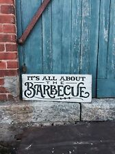 "Large Rustic Wood Sign - ""Its All About The Barbecue"" BBQ Sign, Fathers Day"