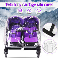 Twin Baby Carriage Rain Cover Stroller Infant Prams Transparent Windproof  #*1