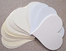 30 Large Heart Cutouts 120mm x 115mm Asst White/Ivory/Cream Textured Card NEW