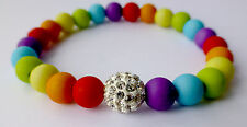 Colourful Rainbow Festival Friendship Bracelet Pave Crystal Disco Gay Pride LGBT