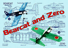 "Build Control Line 29"" .15 Profile ""Bearcat and a ""Zero"" full size printed plans"