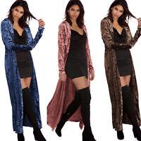 Womens Velvet Maxi Long Sleeve Waterfall Cardigan Duster Jacket Coat Top Outwear