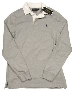 Polo Ralph Lauren Men's Grey Heather Elbow Patch Custom Slim Fit Rugby Polo