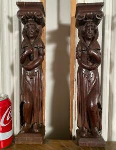 """14"""" Pair of French Antique Hand Carved Flemish Wood Figures/Statues"""