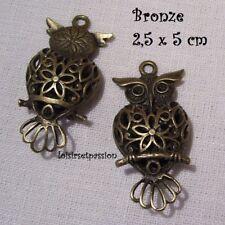 406 - CHARM / BRELOQUE / PENDENTIF - CHOUETTE HIBOU 3D CISELÉ Bronze 2,5 x 5 cm