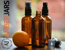 8 x 100ml Glass Amber Bottles, Aromatherapy European QUALITY sprays MADE TO LAST