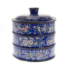 19TH/20TH C. CHINESE CANTON BLUE ENAMEL STACKING FOOD CONTAINER