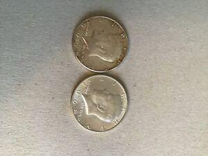 Two silver kennedy 1964 half dollar coins
