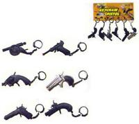 6 ASSORTED CAP GUN DIECAST KEY CHAIN toy guns COLLECTABLE novelty die cast toys