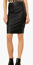 TOPSHOP BLACK FAUX LEATHER PENCIL SKIRT HIGH WAISTED SIZE 6