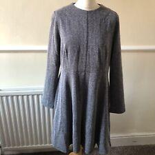 M&S Navy Herringbone Patterned Structured Dress Size 18 Petite UK BNWT Workwear