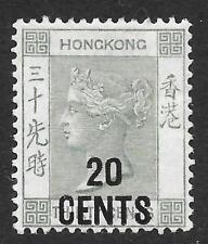 Hong Kong 1891 20 C su 30 C Grigio-Verde SG 45 A (Menta)