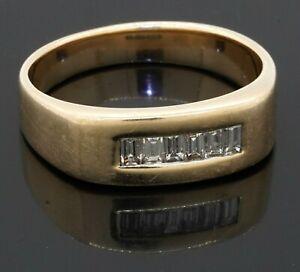 Heavy 14K yellow gold 0.66CT VS1/F diamond men's band ring size 11.25
