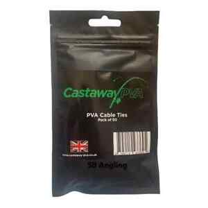 NEW CASTAWAY SOLUBLE PVA CABLE TIES CARP Rigs & PIKE FISHING x50 x10 UK MADE