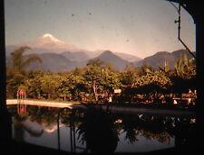 KODACHROME Red Border 35mm Slide Mexico Pico De Orizaba Volcano Pool 1940s!!!