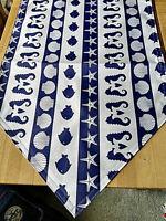 Maritim 45 x150 cm Läufer Seestern Fisch Muschel Blau Weiß Tischläufer Baumwolle