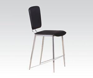 Modern Design Chrome Finish Counter Height Dining Chairs Deron Black PU