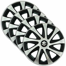 "Hub Caps 15"" SUZUKI Swift Baleno Splash 4x Wheel Trim Cover SILVER+BLACK DRACO"
