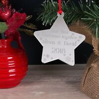 Personalised Mirror Our First Christmas Tree Star Decoration Bauble Xmas Gift