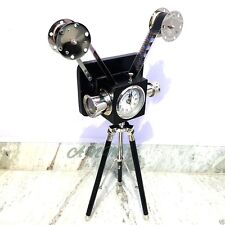 Antique Vintage Style Projector Camera With Clock Wooden Tripod Stand