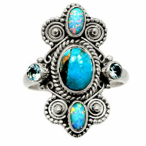 Owl - Copper Blue Turquoise & Fire Opal 925 Silver Ring s.7.5 BR40771