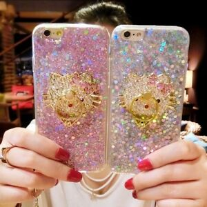 For iPhone 11 Pro Max XR 8+ Bling Glitter Case Cover & Strap & Hello Kitty Stand