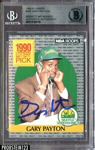 Gary Payton Signed 1990-91 Hoops #391 Supersonics RC Rookie BGS BAS Authentic