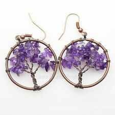 Natural Amethyst Chip Beads Tree of Life Round Reiki Chakra Copper Hook Earrings