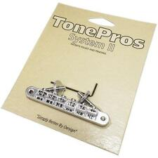 TonePros AVR2P Tuneomatic Bridge,  Locking ABR-1 Upgrade CHROME Notched Saddles